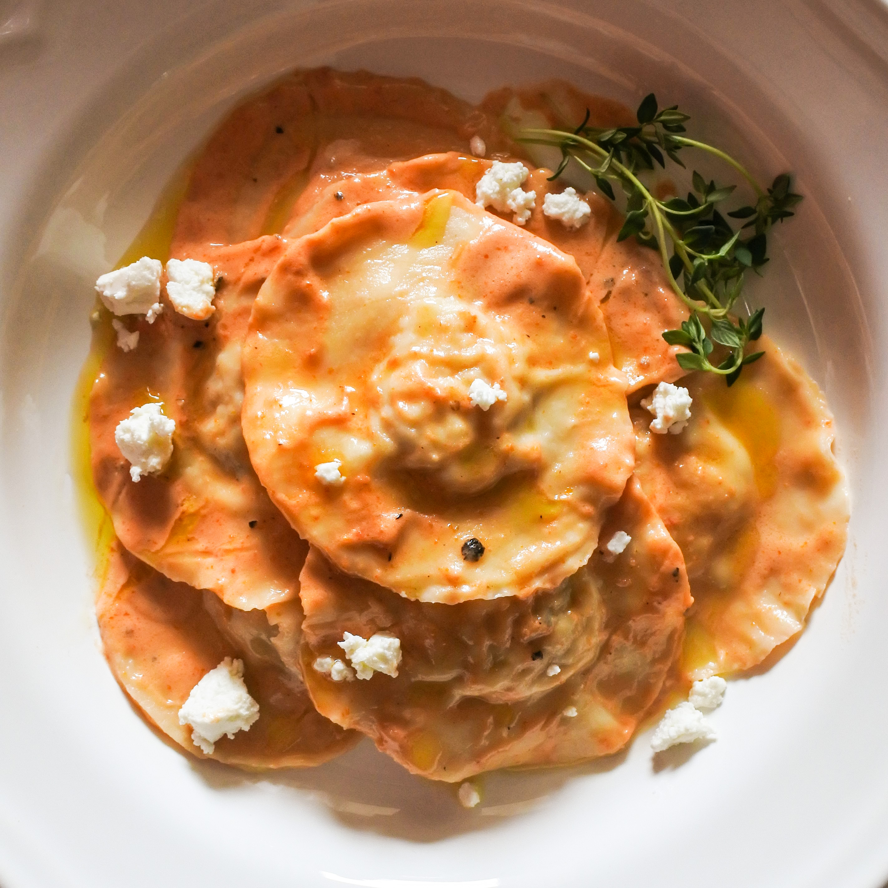 Chicken Ravioli with a Sun Dried Tomato Cream Sauce